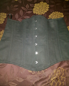 Black Twill Spiral Steel Boned Corset