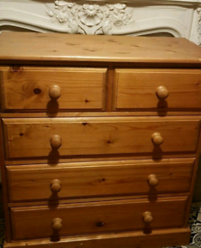 100% SOLID PINE WOOD CHEST OF DRAWERS