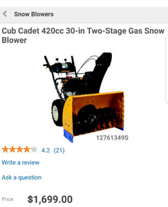 Hardly used Snowblower