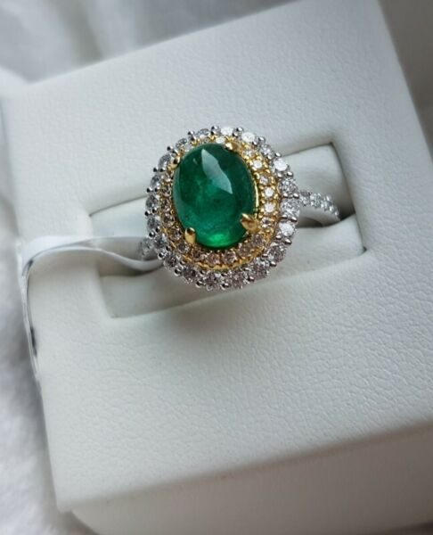 2-CARAT EMERALD CABOCHON DIAMOND RING IN 18K SOLID YELLOW & WHITE GOLD