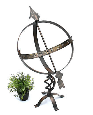 Sundial Clock from Metal Wrought Iron Weather 72 CM Patina Garden Decoration