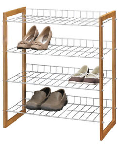 Brand New Canadian Tire Bamboo and Metal Shoe rack