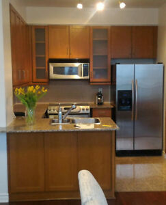Kitchen cabinets with sink, counter top, drain etc