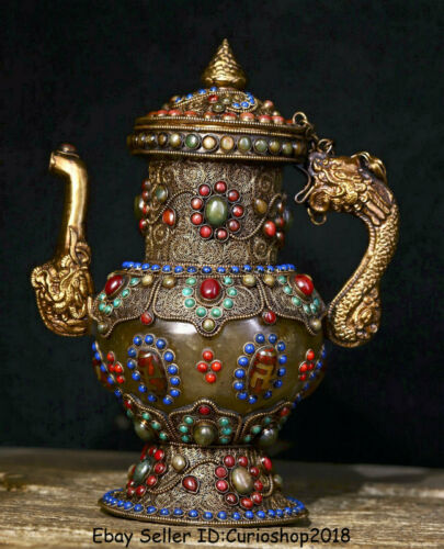 "9.6"" Old Tibet Nepal Crystal Silver Wire Inlay Gem Dragon Handle Wine Pot Flagon"