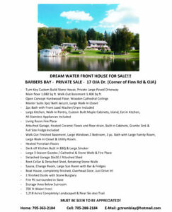 DREAM WATER FRONT HOUSE FOR SALE!!!   BARBERS BAY -  REDUCED $