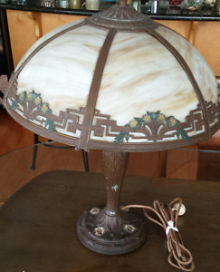 Antique Stained glass Slag style table lamp 1930's