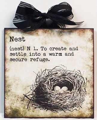 Definition Of Nest Bird Nest Vintage Custom Wood Wall Plaque NEW!