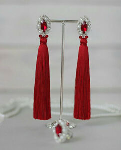 Red Tassel Earrings Long Tassel Earrings Stud Earrings Boho Ear