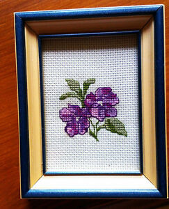 (8) SMALL pictures with Wooden Frames/Glass - in cross stitch. Stratford Kitchener Area image 1