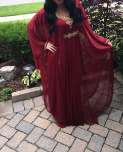Red and Gold Kaftan Formal Dress