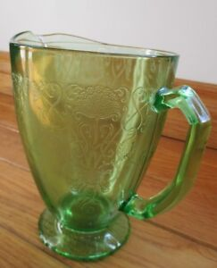 Vintage Green Depression Glass Pitcher
