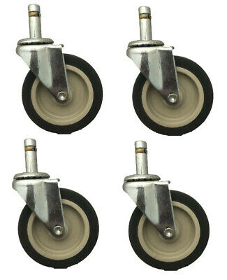 Set Of 4 Swivel Casters With 3 Diameter Wheel And 716 Grip Ring Stem