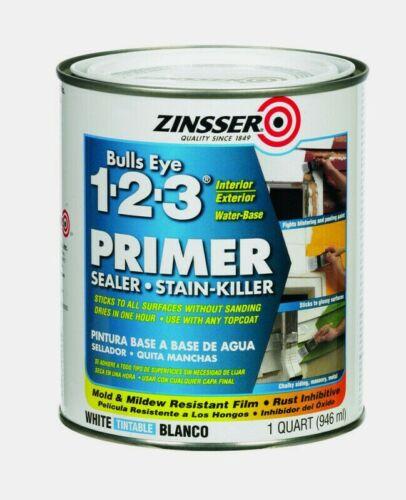 Zinsser BULLSEYE 1-2-3 PRIMER 1 qt. WHITE Water-Based Sealer Stain-Killer 2004