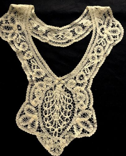 Antique Elaborate Bobbin Tape Lace Hand Made Unique Collar w/Inserted Medallion,