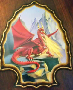 Fantasy Red Fire Breathing Dragon Wall Plaque