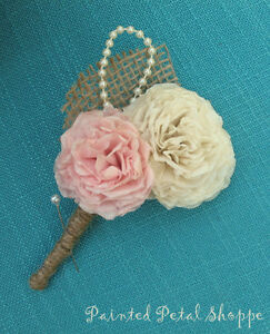 Coffee Filter Boutonniere/Rustic Wedding Flowers/Groom's Flower Belleville Belleville Area image 2