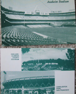 Giants, A's and Angels old MLB ballpark postcards