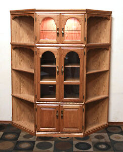 Oak Corner Wall Shelving Units & Versatile Display w/ SEE VIDEO