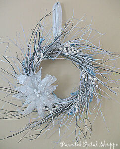Winter Twig & Berry Wreath/White & Teal/Winter Wedding