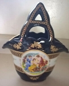Unmarked Limoges Cobalt Blue Hand Painted Porcelain Vase/ Basket