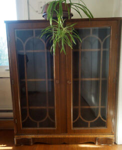 Antique bookcase / china cabinet - glass doors, solid, NICE!