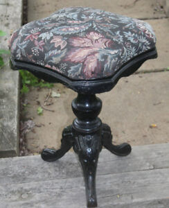 Vintage Needle Point Piano Stool with a Cast Iron Base