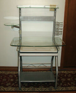 glass and metal desk with top shelf