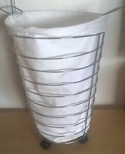 WIRE LAUNDRY BASKET ON WHEELS