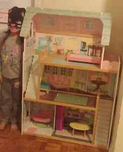 4 foot wooden doll house with wooden furniture