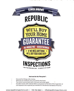 Home Inspection with a warranty!!!