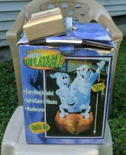 Gemmy 8' Tall Lighted 3-ghosts In Pumpkin Halloween Airblown Inflatable Blow-up