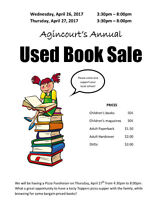 Agincourt's Annual Used Book Sale and Pizza Fundraiser