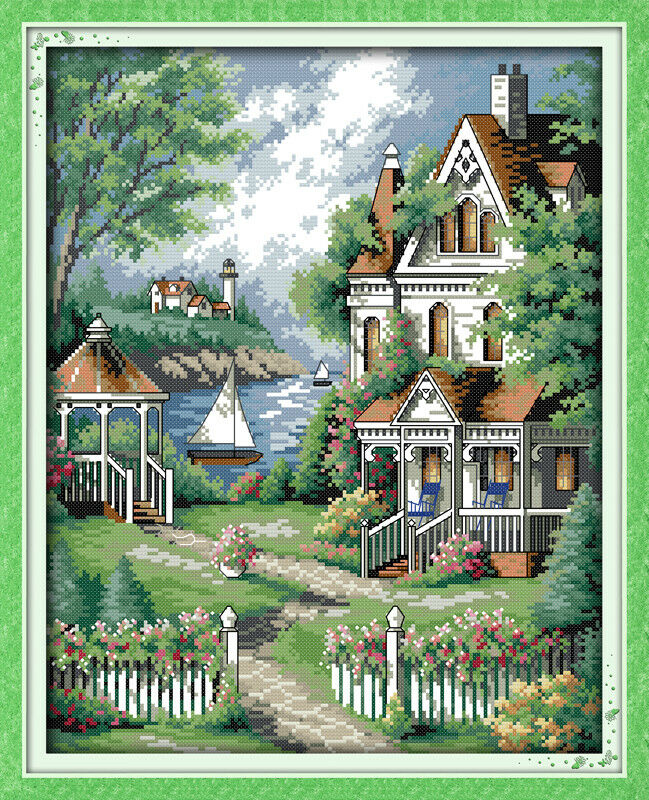 counted cross stitch kit 14 count villa