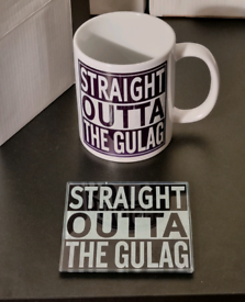 Straight outta the gulag call of duty cup and glass coaster set