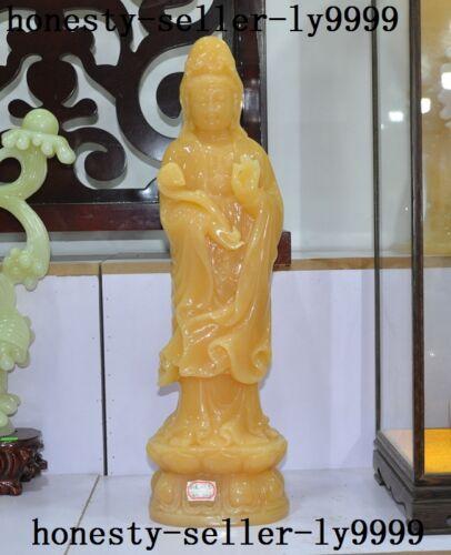 "22""chinese 100% Natural Yellow Jade Hand Carved Kwan-yin Guanyin Buddha Statue"