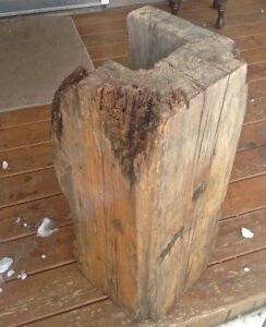 BIG chunk of OLD barn wood hollowed out PLANT STAND LED lights?