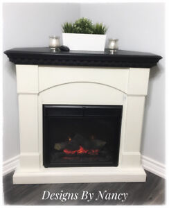 EUC Refinished Electric Fireplace With Remote!