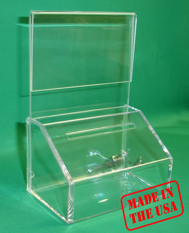 FUNDRAISING CHARITY DONATION BOX  WITH SIGN-HOLDER