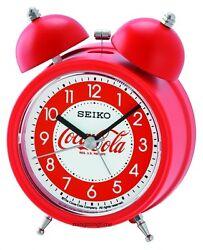 Seiko Bell Alarm Clock Red Quiet Sweep Snooze Light QHK905R Coca Cola limited Ed