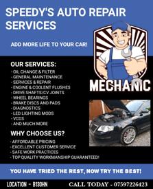 CAR SERVICING, DIAGNOSTICS AND REPAIRS