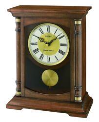 Seiko Wooden Mantel Pendulum Clock QXQ034B NEW