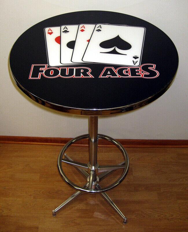Four 4 Aces Texas Hold Em Poker Black Logo Pub Table