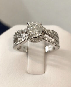 14k white gold 1.50ct. crafted diamond engagement ring*Certified