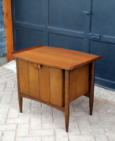 MCM Solid Walnut TV Media Record/ Bar/ Accent Table  Refinished