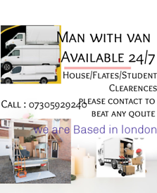 24/7 SHORT NOTICE RELIABLE MAN AND VAN HOUSE OFFICE STUDENT REMOVAL