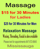 Massage for Ladies $15 for 30 minutes