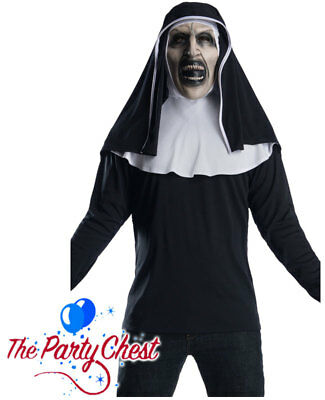 Horror Movie Halloween Outfits (THE NUN TOP AND MASK Horror Movie Demon Adult Halloween Fancy Dress Outfit 0112)