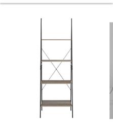 Industrial ladder bookcase shelf unit NEW in box Rustic Oak