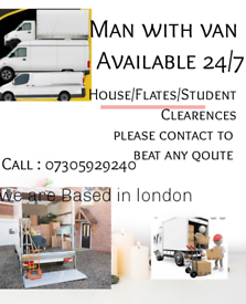 24/7 SHORT NOTICE RELIABLE MAN AND VAN HOUSE OFFICE STUDENT REMOVALS