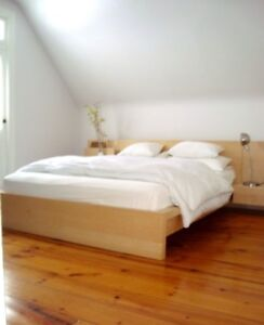IKEA Queen Malm Bed Mattress and End/Side Table